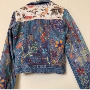 Floral Hand Painted Floral Jean Jacket